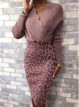 İlkbahar Uzun Kol Leopar Desenli Sarmalı Kalem Elbise