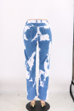 Summer White und Blue Tie Dye Regular Jeans