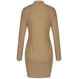 Spring Long Sleeve Strick Rollkragen Bodycon Kleid