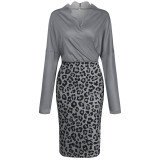 Spring Long Sleeve Leopard Print Wrapped Knitting Pencil Dress