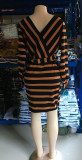 Party Long Sleeve Stripes Wrapped Bodycon Dress