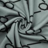 Vestido de tubo de punto envuelto con estampado de manga larga de primavera