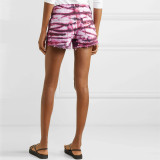 Sommer rote und weiße Tie Dye Denim Shorts