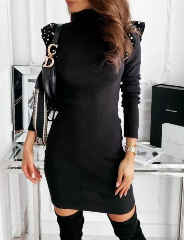 Spring Black Beaded Long Sleeve Turtleneck Mini Dress