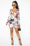 Mini vestido recortado con estampado completo sexy de fiesta con mangas completas