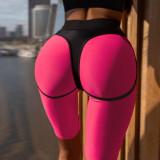 Conjunto a juego de sujetador y pantalones cortos de yoga en contraste deportivo de verano
