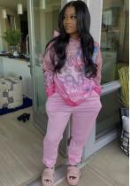 Sweat à capuche ample rose imprimé à manches longues