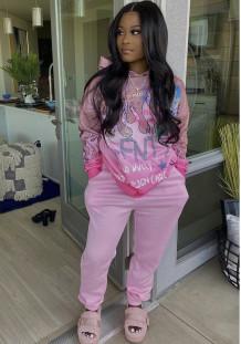 Tuta felpa con cappuccio ampia manica lunga rosa stampata