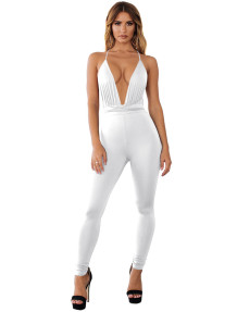 Solid Plain Sexy Deep-V Halter Bodycon Jumpsuit