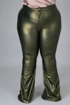 Plus Size Spring High Waist Solid Green Flare Leather Trousers