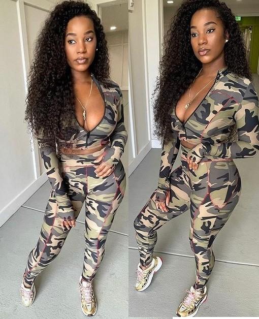 Conjunto de pantalón y top corto ajustado con estampado de camuflaje sexy