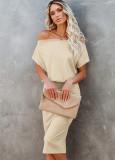 Vestido de tubo holgado y ajustado liso con hombros descubiertos