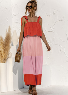 Summer Casual Contrast Strap Knotted Long Maxi Dress