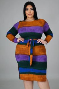 Plus Size Colorful Side Slit Knit Dress with Belt