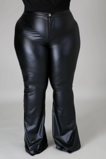 Plus Size Spring High Waist Solid Black Flare Leather Trousers