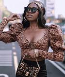 Fiesta Sexy Estampado de leopardo con cordones Top corto con manga abullonada