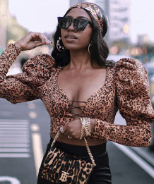 Party Sexy Leopard Print Lace Up Puff Sleeve Crop Top