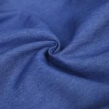 Vestido casual azul de blusa de mezclilla de manga larga