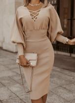 Vestido de tubo de punto con mangas abullonadas y cuello en V liso liso