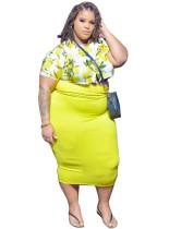 Conjunto de top corto floral de verano de talla grande y falda midi transparente