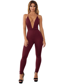 Solid Plain Sexy Deep-V Halfter Bodycon Jumpsuit