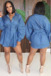 Casual Blue Long Sleeve Denim Blouse Dress