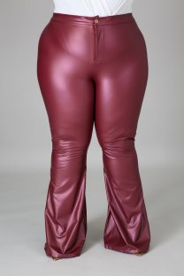 Plus Size Spring High Waist Solid Red Flare Leather Trousers