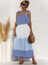 Vestido largo largo anudado con correa en contraste informal de verano