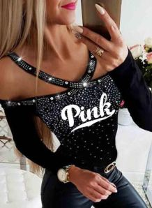 Party Black Beaded Print Long Sleeve Halter Shirt