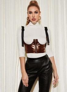 Sexy Underbust Brown Leather Bustier Corset