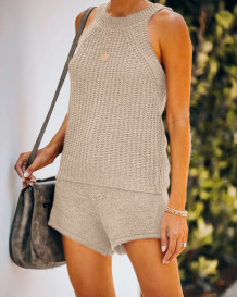 Sommer Casual Strickweste und Shorts Matching Set