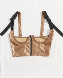 Сексуальный кожаный корсет-бюстье цвета хаки под грудью