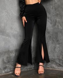 Resmi Siyah Yarık Alt Yüksek Bel Flare Pantolon