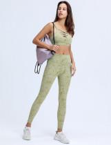 Sujetador deportivo con tirantes de yoga y estampado de verano y leggings de cintura alta
