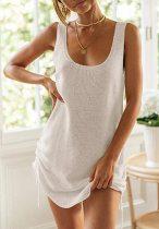 Sommer lässige Strickstrings Tank Kleid