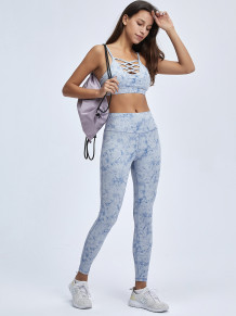 Zomerse print sport yoga band bh en hoge taille legging