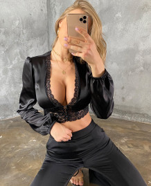 Party Sexy Black Lace Patch Satin Crop Top