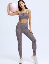 Summer Print Sports Yoga Strap Bra and High Waist Leggings