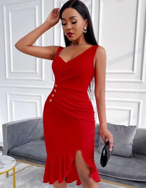 Rotes elegantes ärmelloses Meerjungfrauen-Partykleid