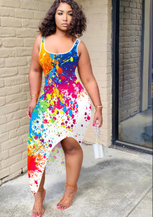 Vestido sin mangas largo irregular con estampado de pinturas sexy