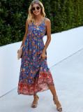Summer High Waist Floral Strap Langes Kleid