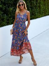 Vestido longo verão cintura alta alça floral