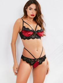 Sexy Lace Patch Kontrast Samt BH und Panty Dessous Set