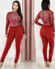 Formeller roter Mesh Patch Langarm Fit Jumpsuit