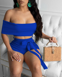 Effen kleur sexy off shoulder crop top en shorts set