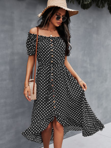 Off Shoulder Polka Print Elegant Long Dress with Short Sleeves