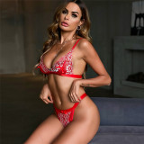 Sexy Red Lace Tied BH und Slip Dessous Set