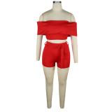 Solid Color Sexy Off Shoulder Crop Top und Shorts Set