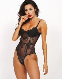 Sexy Black Lace High Cut Strap Teddy Lingerie