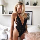 Sexy Full Cut High Cut V-Neckholder Teddy Dessous